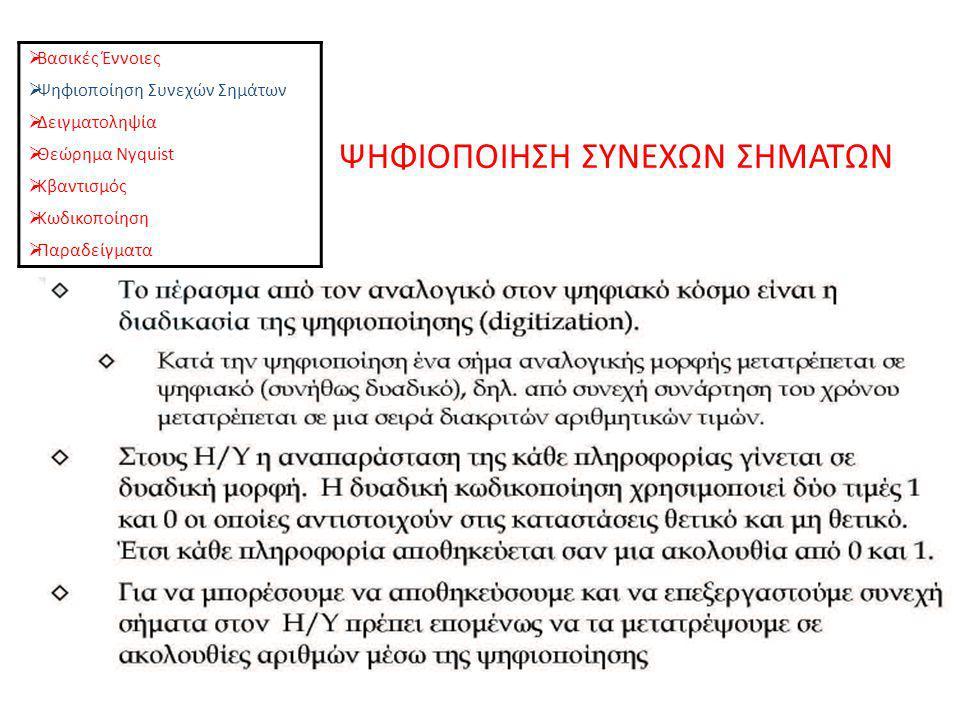 ΨΗΦΙΟΠΟΙΗΣΗ ΣΥΝΕΧΩΝ ΣΗΜΑΤΩΝ  Βασικές Έννοιες  Ψηφιοποίηση Συνεχών Σημάτων  Δειγματοληψία  Θεώρημα Nyquist  Κβαντισμός  Κωδικοποίηση  Παραδείγματα