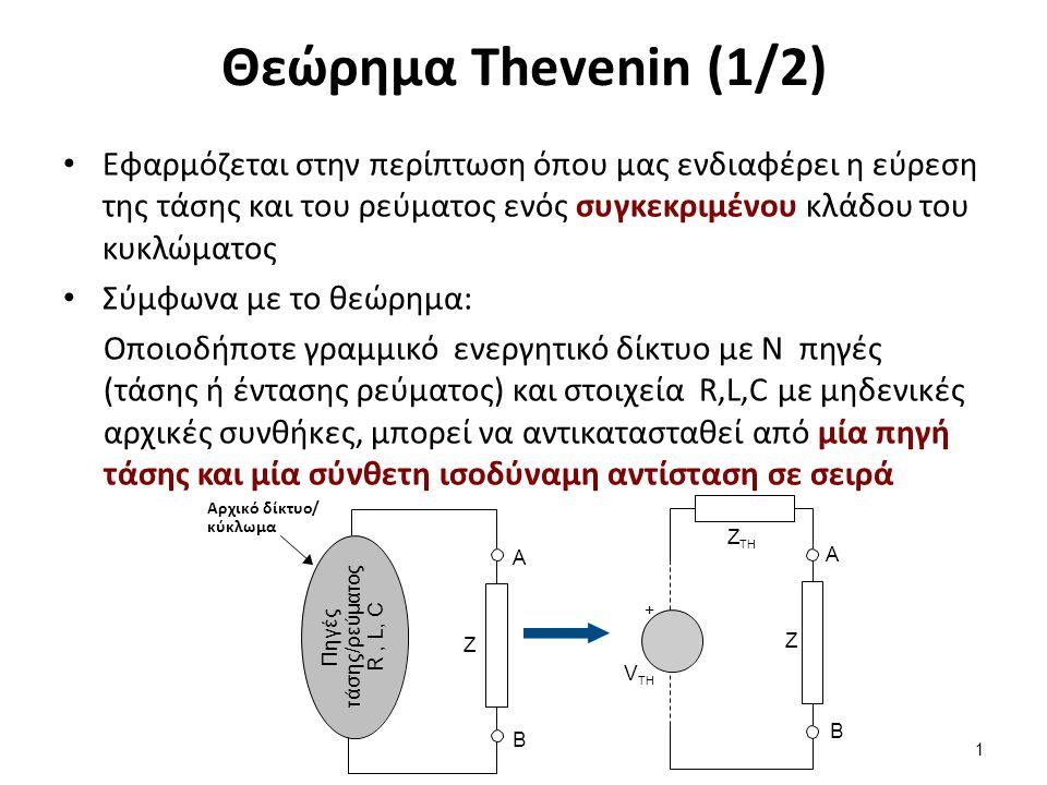 Θεώρημα Thevenin (1/2) Εφαρμόζεται στην περίπτωση όπου μας ενδιαφέρει η εύρεση της τάσης και του ρεύματος ενός συγκεκριμένου κλάδου του κυκλώματος Σύμ
