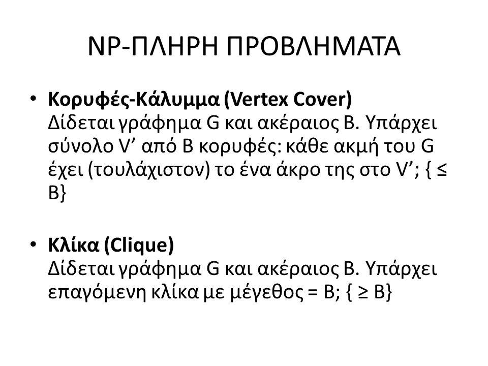 NP-ΠΛΗΡΗ ΠΡΟΒΛΗΜΑΤΑ Κορυφές-Κάλυμμα (Vertex Cover) Δίδεται γράφημα G και ακέραιος B.