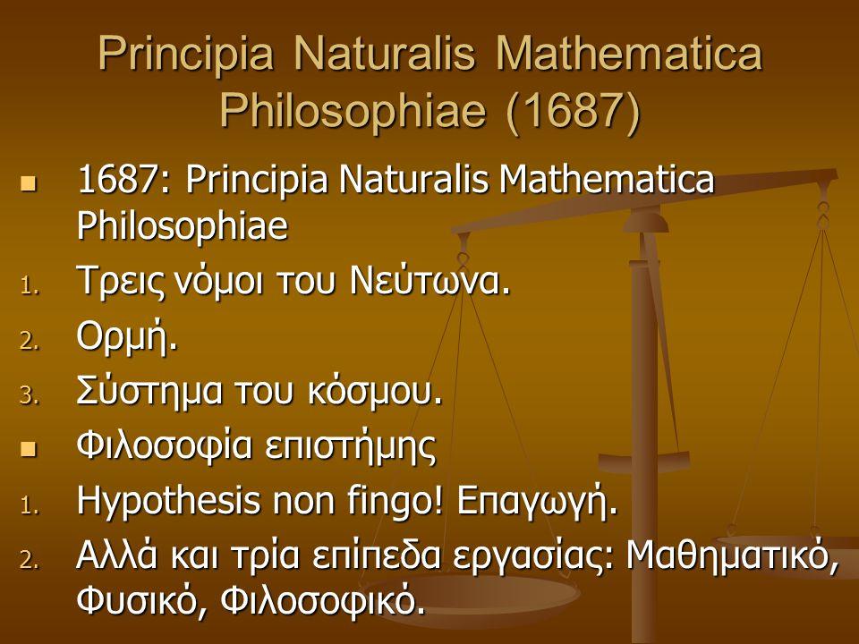 Principia Naturalis Mathematica Philosophiae (1687) 1687: Principia Naturalis Mathematica Philosophiae 1687: Principia Naturalis Mathematica Philosophiae 1.