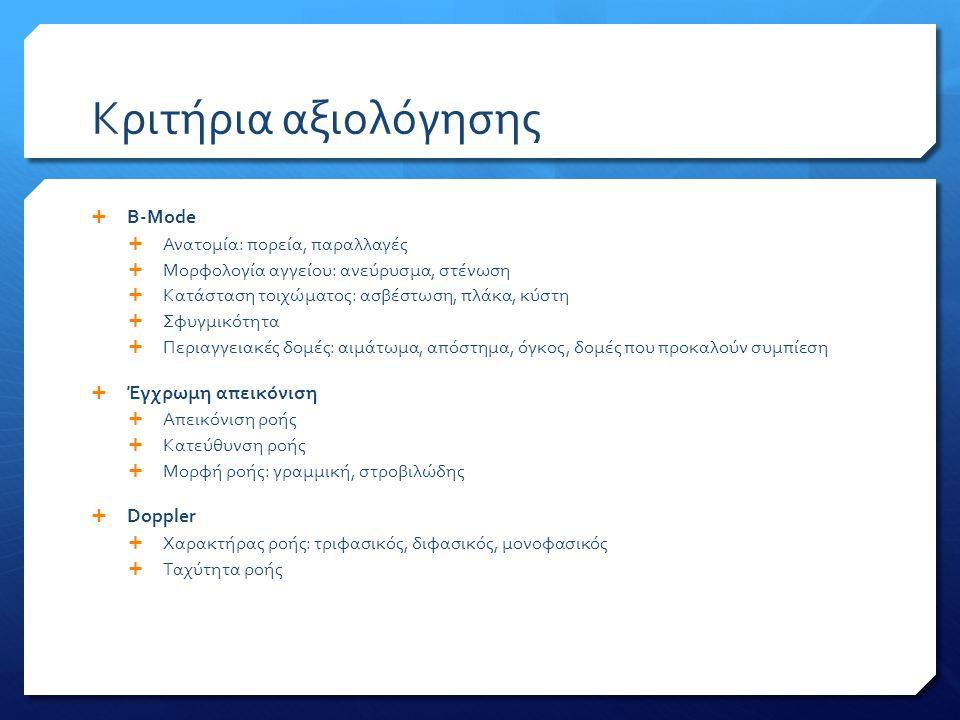 Κριτήρια αξιολόγησης  B-Mode  Ανατομία: πορεία, παραλλαγές  Μορφολογία αγγείου: ανεύρυσμα, στένωση  Κατάσταση τοιχώματος: ασβέστωση, πλάκα, κύστη