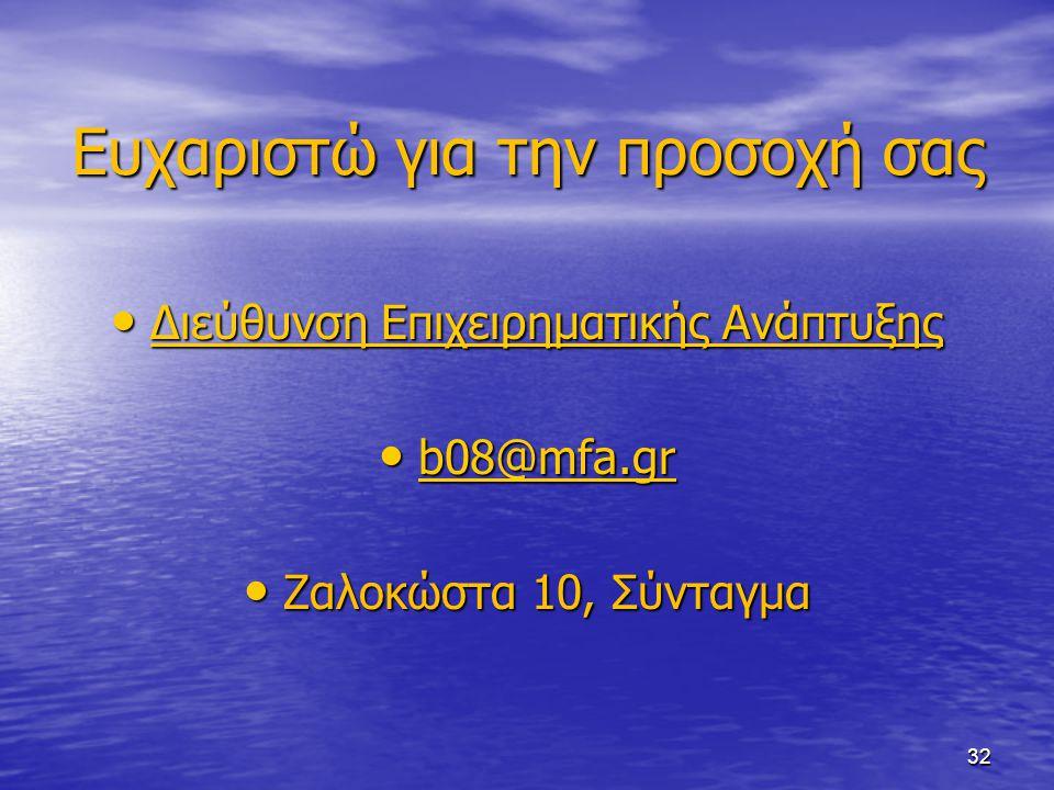 Eυχαριστώ για την προσοχή σας Διεύθυνση Επιχειρηματικής Ανάπτυξης Διεύθυνση Επιχειρηματικής Ανάπτυξης Διεύθυνση Επιχειρηματικής Ανάπτυξης Διεύθυνση Επ