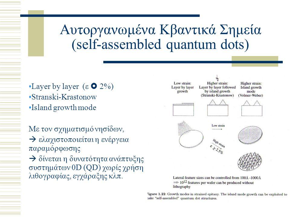 Αυτοργανωμένα Κβαντικά Σημεία (self-assembled quantum dots) Layer by layer (ε  2%) Stranski-Krastonow Island growth mode Με τον σχηματισμό νησίδων,  ελαχιστοποιείται η ενέργεια παραμόρφωσης  δίνεται η δυνατότητα ανάπτυξης συστημάτων 0D (QD) χωρίς χρήση λιθογραφίας, εγχάραξης κλπ.