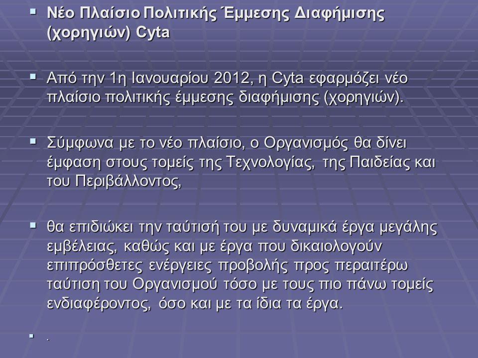  Νέο Πλαίσιο Πολιτικής Έμμεσης Διαφήμισης (χορηγιών) Cyta  Από την 1η Ιανουαρίου 2012, η Cyta εφαρμόζει νέο πλαίσιο πολιτικής έμμεσης διαφήμισης (χο