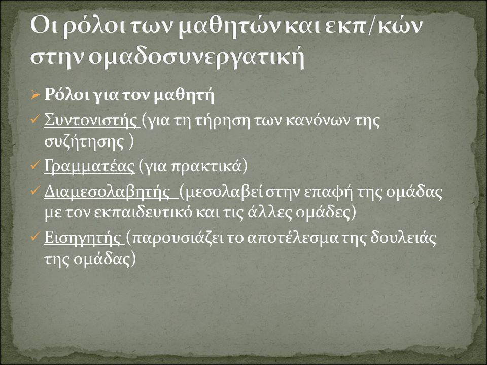  Ρόλοι για τον μαθητή Συντονιστής (για τη τήρηση των κανόνων της συζήτησης ) Γραμματέας (για πρακτικά) Διαμεσολαβητής (μεσολαβεί στην επαφή της ομάδας με τον εκπαιδευτικό και τις άλλες ομάδες) Εισηγητής (παρουσιάζει το αποτέλεσμα της δουλειάς της ομάδας)