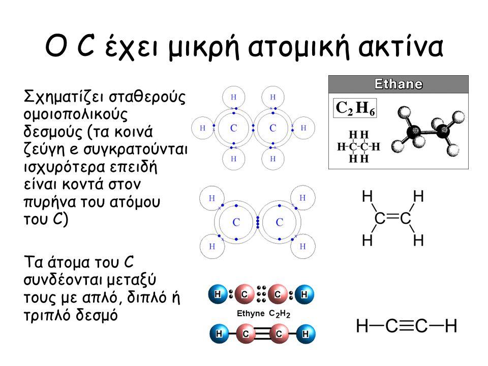 Ο C έχει μικρή ατομική ακτίνα Σχηματίζει σταθερούς ομοιοπολικούς δεσμούς (τα κοινά ζεύγη e συγκρατούνται ισχυρότερα επειδή είναι κοντά στον πυρήνα του