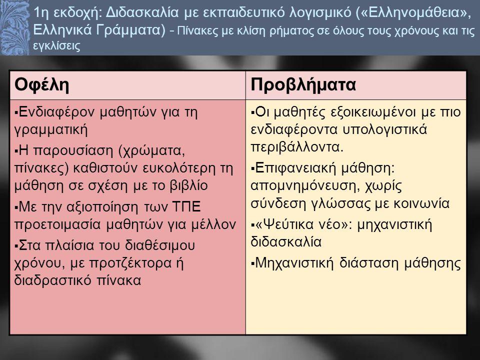 1η εκδοχή: Διδασκαλία με εκπαιδευτικό λογισμικό («Ελληνομάθεια», Ελληνικά Γράμματα) - Πίνακες με κλίση ρήματος σε όλους τους χρόνους και τις εγκλίσεις ΟφέληΠροβλήματα  Ενδιαφέρον μαθητών για τη γραμματική  Η παρουσίαση (χρώματα, πίνακες) καθιστούν ευκολότερη τη μάθηση σε σχέση με το βιβλίο  Με την αξιοποίηση των ΤΠΕ προετοιμασία μαθητών για μέλλον  Στα πλαίσια του διαθέσιμου χρόνου, με προτζέκτορα ή διαδραστικό πίνακα  Οι μαθητές εξοικειωμένοι με πιο ενδιαφέροντα υπολογιστικά περιβάλλοντα.