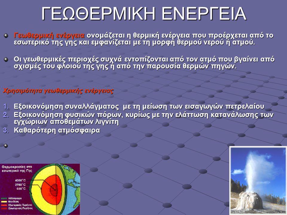 11 ΓΕΩΘΕΡΜΙΚΗ ΕΝΕΡΓΕΙΑ Γεωθερμική ενέργεια ονομάζεται η θερμική ενέργεια που προέρχεται από το εσωτερικό της γης και εμφανίζεται με τη μορφή θερμού νε