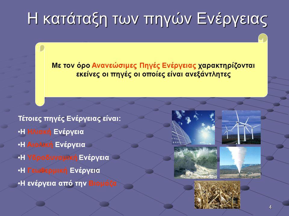 4 Η κατάταξη των πηγών Ενέργειας Με τον όρο Ανανεώσιμες Πηγές Ενέργειας χαρακτηρίζονται εκείνες οι πηγές οι οποίες είναι ανεξάντλητες Τέτοιες πηγές Εν