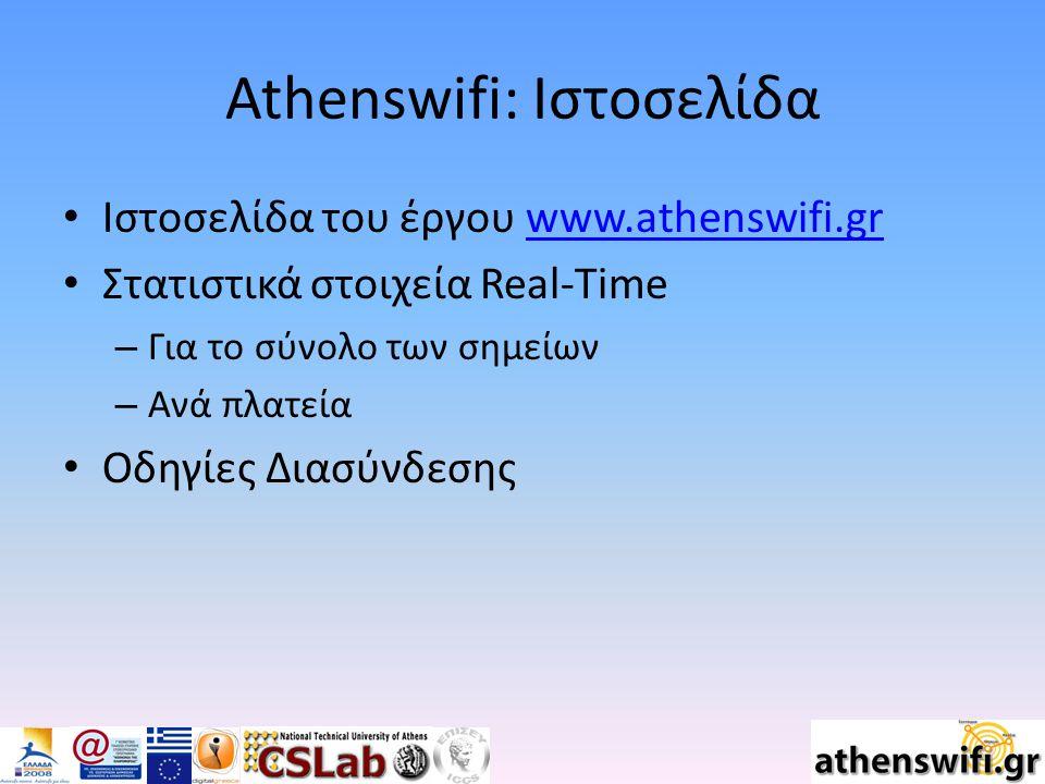 Athenswifi: Ιστοσελίδα Ιστοσελίδα του έργου www.athenswifi.grwww.athenswifi.gr Στατιστικά στοιχεία Real-Time – Για το σύνολο των σημείων – Ανά πλατεία Οδηγίες Διασύνδεσης
