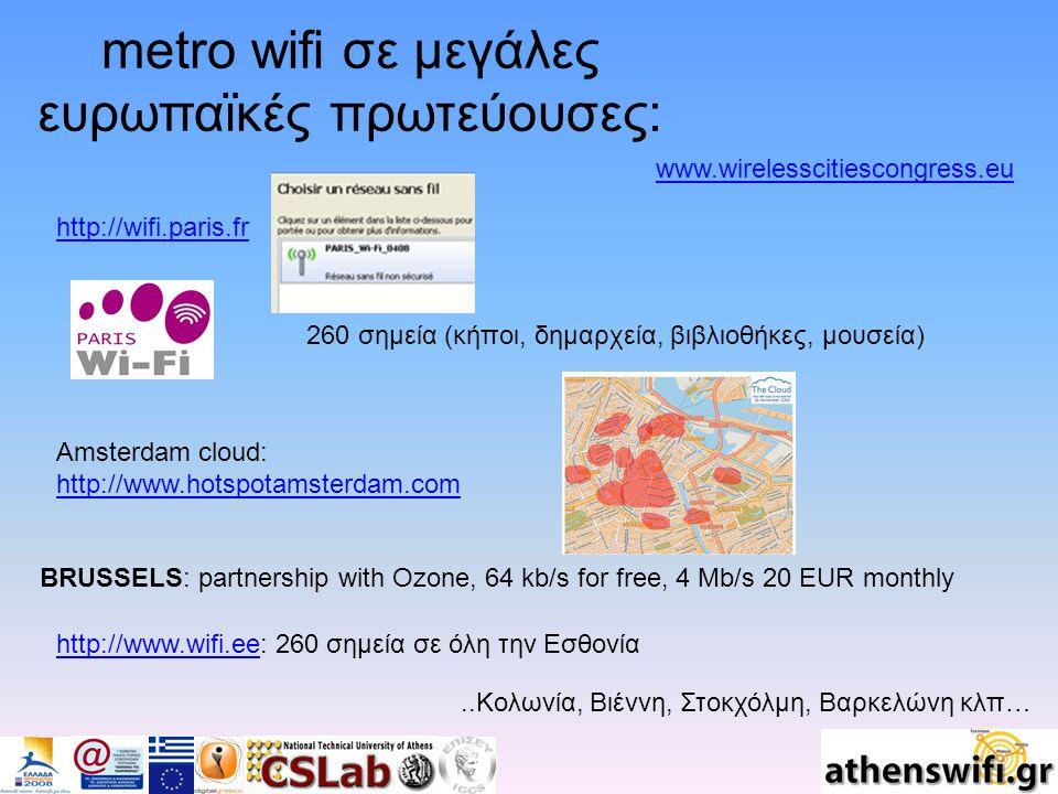 metro wifi σε μεγάλες ευρωπαϊκές πρωτεύουσες: 260 σημεία (κήποι, δημαρχεία, βιβλιοθήκες, μουσεία) http://wifi.paris.fr Amsterdam cloud: http://www.hotspotamsterdam.com http://www.hotspotamsterdam.com BRUSSELS: partnership with Ozone, 64 kb/s for free, 4 Mb/s 20 EUR monthly www.wirelesscitiescongress.eu..Κολωνία, Βιέννη, Στοκχόλμη, Βαρκελώνη κλπ… http://www.wifi.eehttp://www.wifi.ee: 260 σημεία σε όλη την Εσθονία