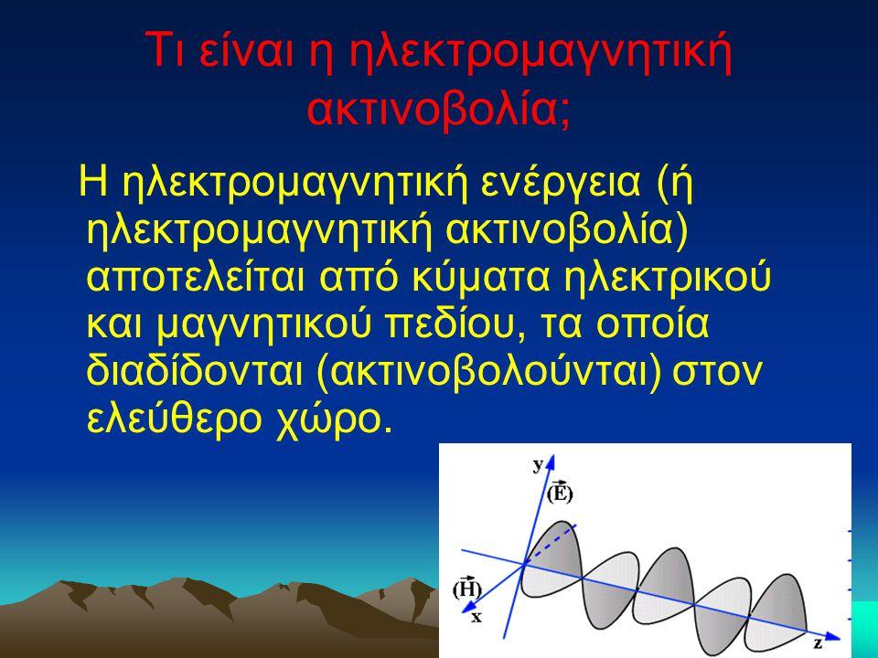 Τι είναι η ηλεκτρομαγνητική ακτινοβολία; Η ηλεκτρομαγνητική ενέργεια (ή ηλεκτρομαγνητική ακτινοβολία) αποτελείται από κύματα ηλεκτρικού και μαγνητικού πεδίου, τα οποία διαδίδονται (ακτινοβολούνται) στον ελεύθερο χώρο.