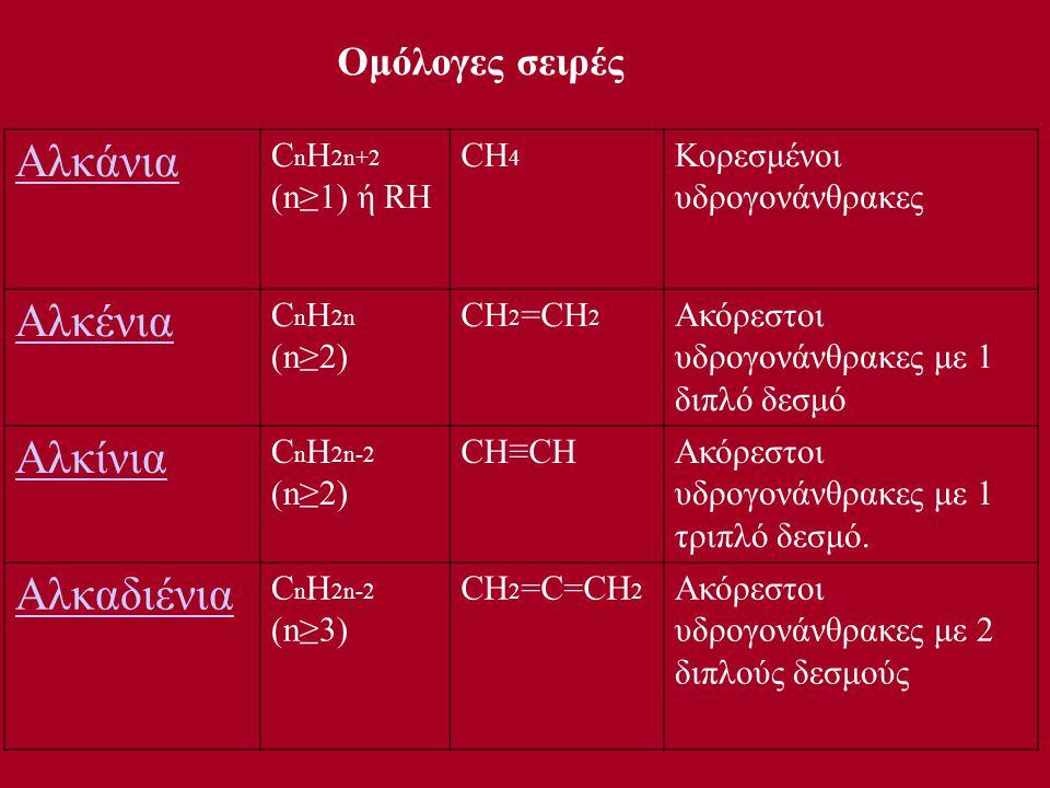 Αλκάνια C n H 2n+2 (n≥1) ή RH CH 4 Κορεσμένοι υδρογονάνθρακες Αλκένια C n H 2n (n≥2) CH 2 =CH 2 Ακόρεστοι υδρογονάνθρακες με 1 διπλό δεσμό Αλκίνια C n