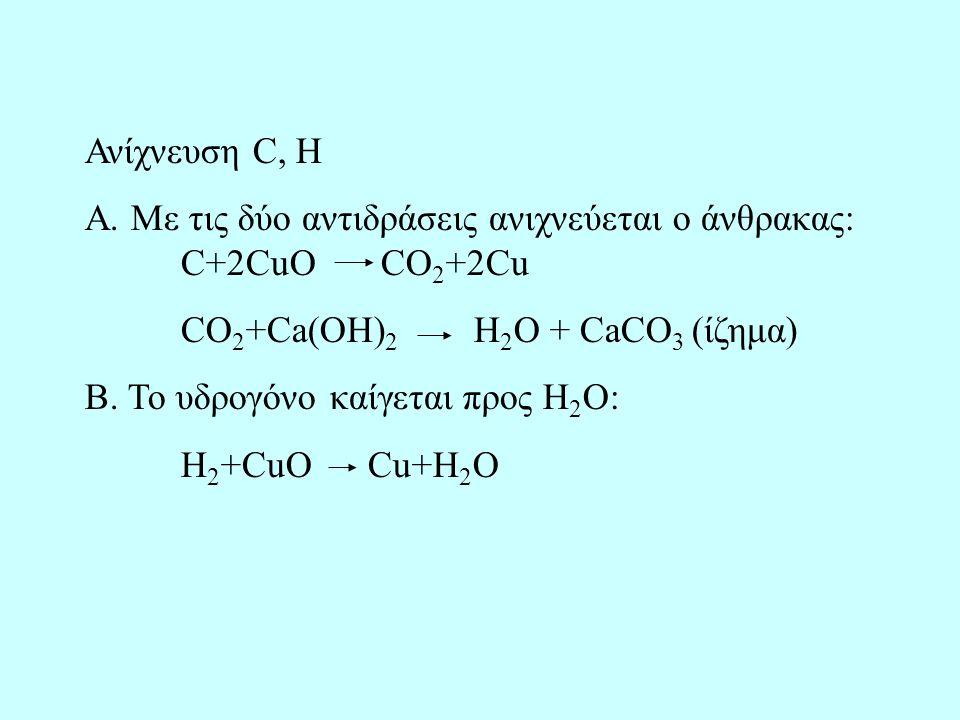 Ανίχνευση C, H Α. Με τις δύο αντιδράσεις ανιχνεύεται ο άνθρακας: C+2CuO CO 2 +2Cu CO 2 +Ca(OH) 2 H 2 O + CaCO 3 (ίζημα) Β. Το υδρογόνο καίγεται προς Η