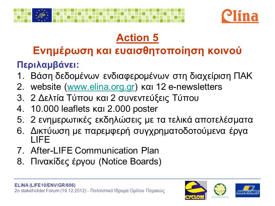 ELINA (LIFE10/ENV/GR/606) 2ο stakeholder Forum (19.12.2012) - Πολιτιστικό Ίδρυμα Ομίλου Πειραιώς Action 5 Ενημέρωση και ευαισθητοποίηση κοινού Περιλαμβάνει: 1.Βάση δεδομένων ενδιαφερομένων στη διαχείριση ΠΑΚ 2.website (www.elina.org.gr) και 12 e-newsletterswww.elina.org.gr 3.2 Δελτία Τύπου και 2 συνεντεύξεις Τύπου 4.10.000 leaflets και 2.000 poster 5.2 ενημερωτικές εκδηλώσεις με τα τελικά αποτελέσματα 6.Δικτύωση με παρεμφερή συγχρηματοδοτούμενα έργα LIFE 7.After-LIFE Communication Plan 8.Πινακίδες έργου (Notice Boards)