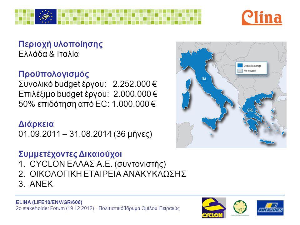 ELINA (LIFE10/ENV/GR/606) 2ο stakeholder Forum (19.12.2012) - Πολιτιστικό Ίδρυμα Ομίλου Πειραιώς Περιοχή υλοποίησης Ελλάδα & Ιταλία Προϋπολογισμός Συνολικό budget έργου: 2.252.000 € Επιλέξιμο budget έργου: 2.000.000 € 50% επιδότηση από EC: 1.000.000 € Διάρκεια 01.09.2011 – 31.08.2014 (36 μήνες) Συμμετέχοντες Δικαιούχοι 1.CYCLON ΕΛΛΑΣ Α.Ε.