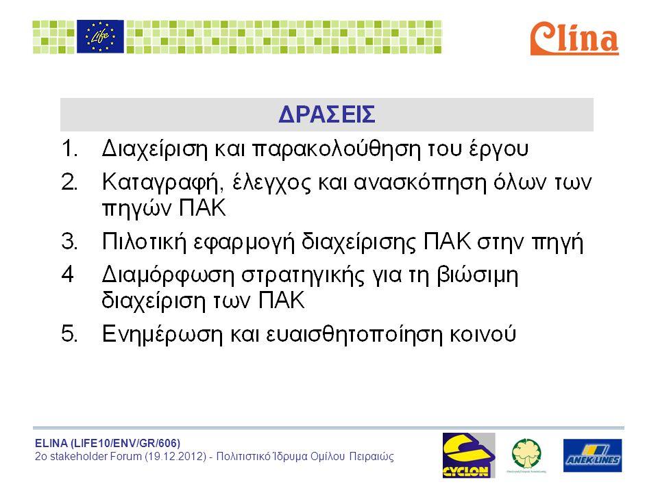 ELINA (LIFE10/ENV/GR/606) 2ο stakeholder Forum (19.12.2012) - Πολιτιστικό Ίδρυμα Ομίλου Πειραιώς Action 1 Διαχείριση και παρακολούθηση του έργου Περιλαμβάνει:  Συνολική και επιμέρους ανά εταίρο διαχείριση του έργου  Παρακολούθηση και έλεγχος (monitoring indicators)  Εκθέσεις Προόδου προς την Ευρωπαϊκή Επιτροπή  Έκδοση Layman's report  Εξωτερικός έλεγχος