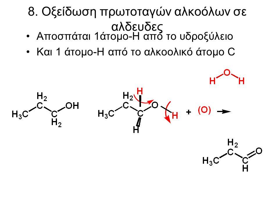 8. Οξείδωση πρωτοταγών αλκοόλων σε αλδευδες Αποσπάται 1άτομο-H από το υδροξύλειο Και 1 άτομο-Η από το αλκοολικό άτομο C