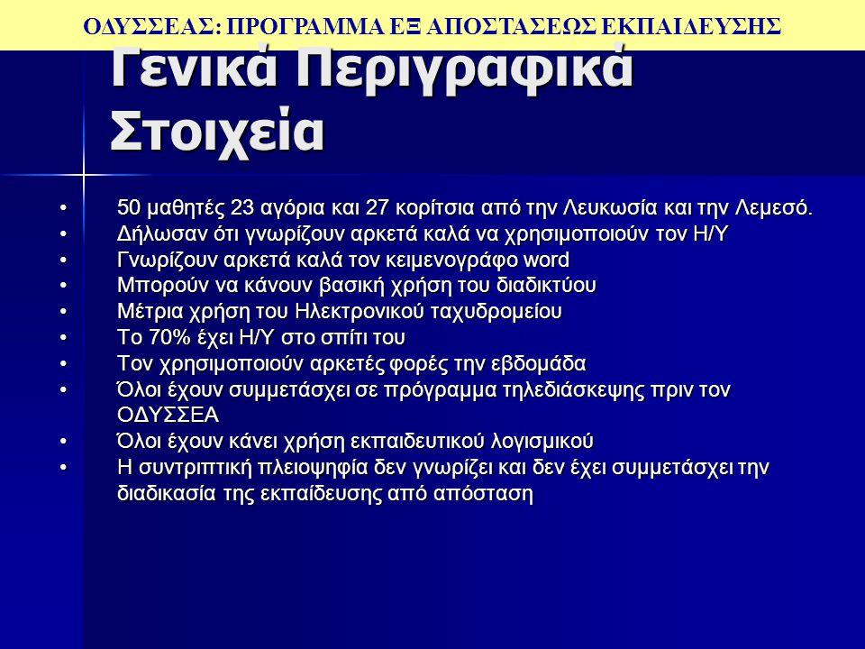 ΟΔΥΣΣΕΑΣ: ΠΡΟΓΡΑΜΜΑ ΕΞ ΑΠΟΣΤΑΣΕΩΣ ΕΚΠΑΙΔΕΥΣΗΣ Γενικά Περιγραφικά Στοιχεία 50 μαθητές 23 αγόρια και 27 κορίτσια από την Λευκωσία και την Λεμεσό.50 μαθη