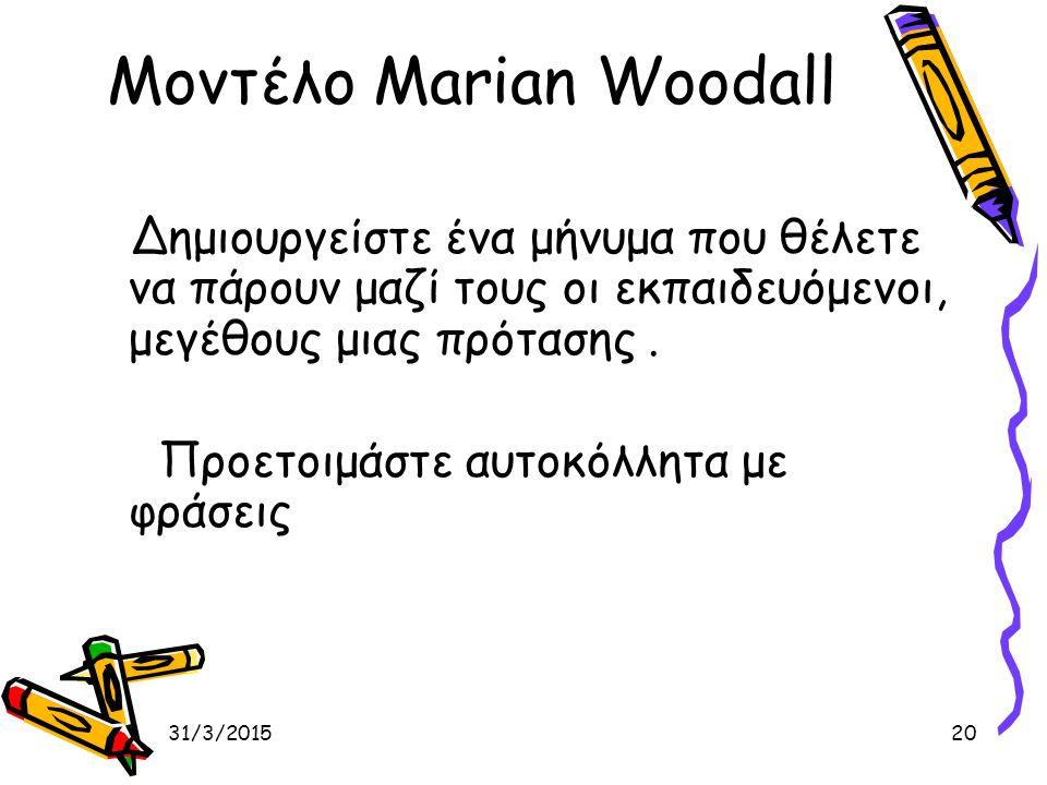 31/3/201520 Μοντέλο Marian Woodall Δημιουργείστε ένα μήνυμα που θέλετε να πάρουν μαζί τους οι εκπαιδευόμενοι, μεγέθους μιας πρότασης. Προετοιμάστε αυτ