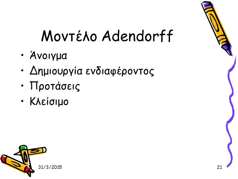 31/3/201521 Μοντέλο Adendorff Άνοιγμα Δημιουργία ενδιαφέροντος Προτάσεις Κλείσιμο