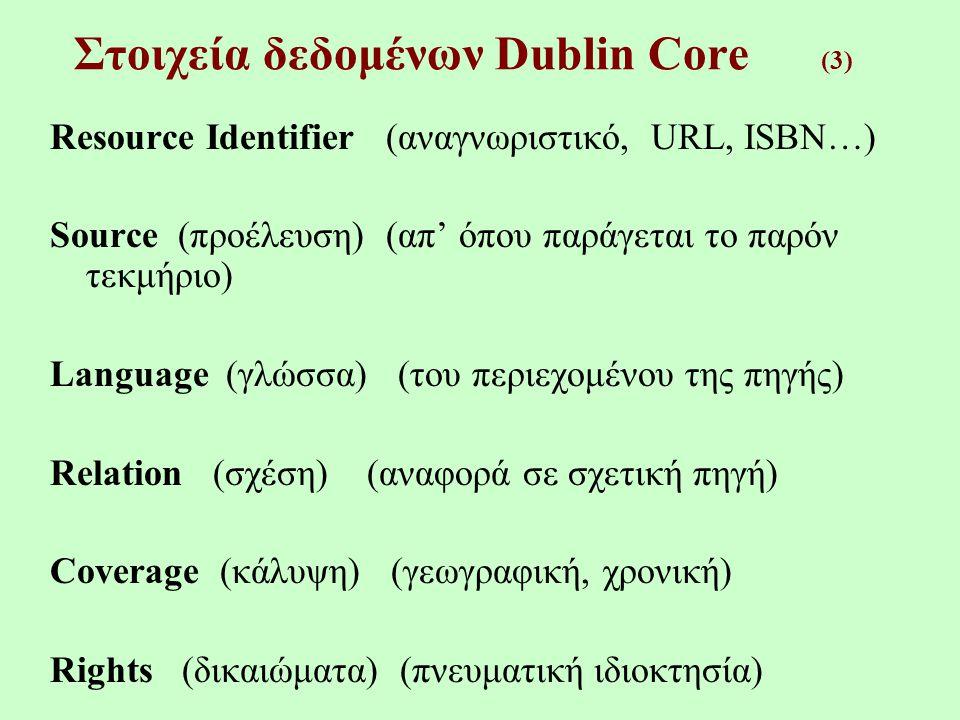 Συστήματα Κωδικοποίησης (Encoding Schemes) (3) Relation URI Coverage DCMI Point ISO 3166 DCMI Box TGN DCMI Period W3C-DTF Rights -