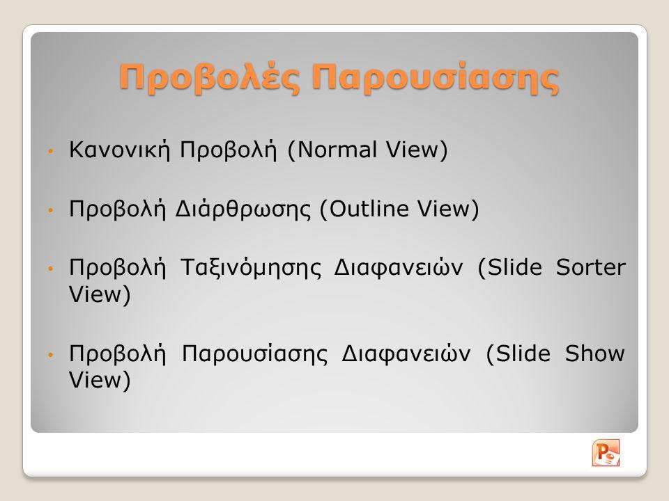 Προβολές Παρουσίασης Κανονική Προβολή (Normal View) Προβολή Διάρθρωσης (Outline View) Προβολή Ταξινόμησης Διαφανειών (Slide Sorter View) Προβολή Παρουσίασης Διαφανειών (Slide Show View)