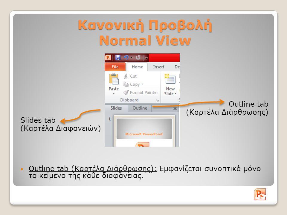 Κανονική Προβολή Normal View Outline tab (Καρτέλα Διάρθρωσης) Slides tab (Καρτέλα Διαφανειών) Outline tab (Καρτέλα Διάρθρωσης): Εμφανίζεται συνοπτικά μόνο το κείμενο της κάθε διαφάνειας.