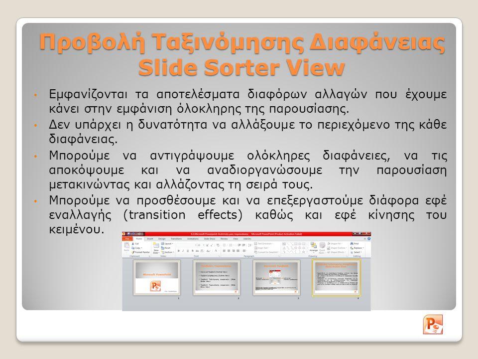 Προβολή Ταξινόμησης Διαφάνειας Slide Sorter View Εμφανίζονται τα αποτελέσματα διαφόρων αλλαγών που έχουμε κάνει στην εμφάνιση όλοκληρης της παρουσίασης.