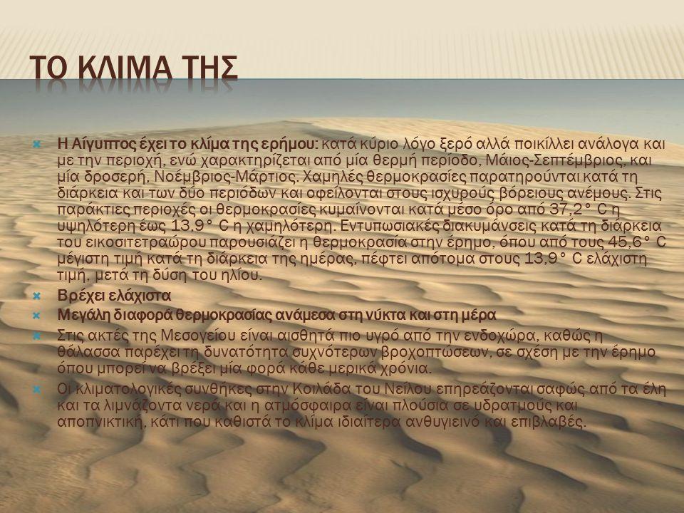  Η Αίγυπτος έχει το κλίμα της ερήμου: κατά κύριο λόγο ξερό αλλά ποικίλλει ανάλογα και με την περιοχή, ενώ χαρακτηρίζεται από μία θερμή περίοδο, Μάιος-Σεπτέμβριος, και μία δροσερή, Νοέμβριος-Μάρτιος.