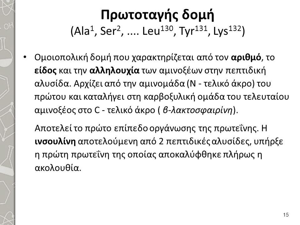 Πρωτοταγής δομή (Ala 1, Ser 2,.... Leu 130, Tyr 131, Lys 132 ) Ομοιοπολική δομή που χαρακτηρίζεται από τον αριθμό, το είδος και την αλληλουχία των αμι