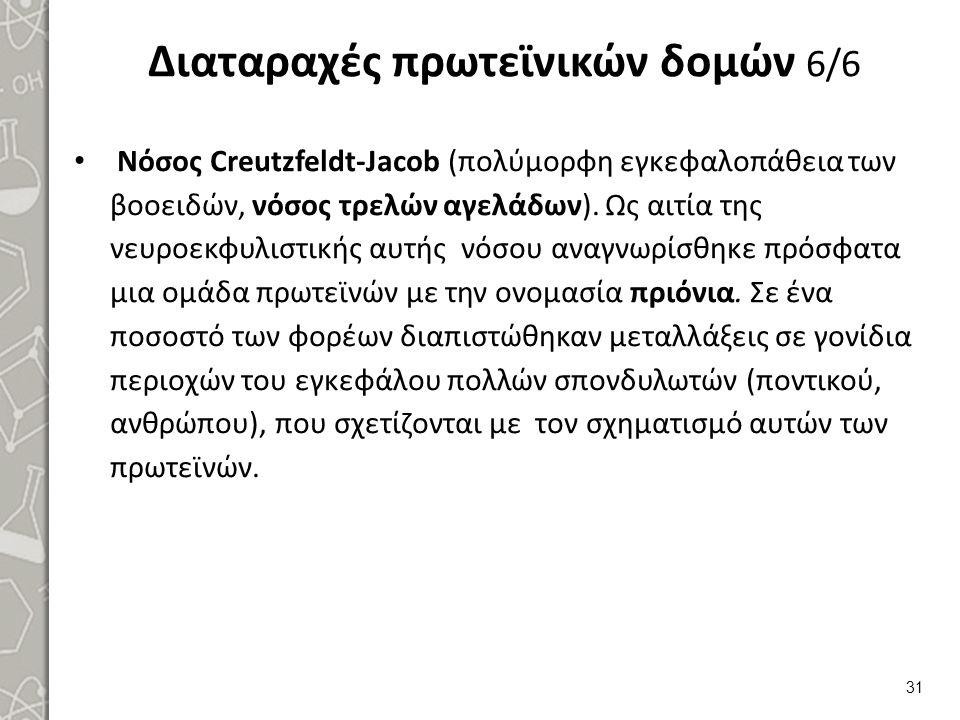 Διαταραχές πρωτεϊνικών δομών 6/6 Νόσος Creutzfeldt-Jacob (πολύμορφη εγκεφαλοπάθεια των βοοειδών, νόσος τρελών αγελάδων). Ως αιτία της νευροεκφυλιστική