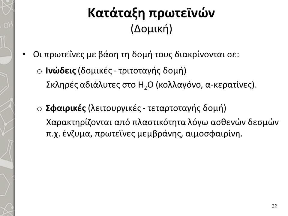 Κατάταξη πρωτεϊνών (Δομική) Οι πρωτεΐνες με βάση τη δομή τους διακρίνονται σε: o Ινώδεις (δομικές - τριτοταγής δομή) Σκληρές αδιάλυτες στο H 2 O (κολλ