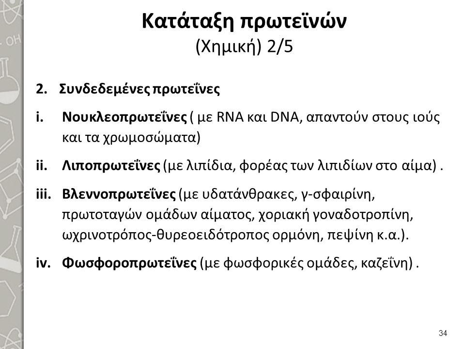 Κατάταξη πρωτεϊνών (Χημική) 2/5 2.Συνδεδεμένες πρωτεΐνες i.Νουκλεοπρωτεΐνες ( με RNA και DNA, απαντούν στους ιούς και τα χρωμοσώματα) ii.Λιποπρωτεΐνες