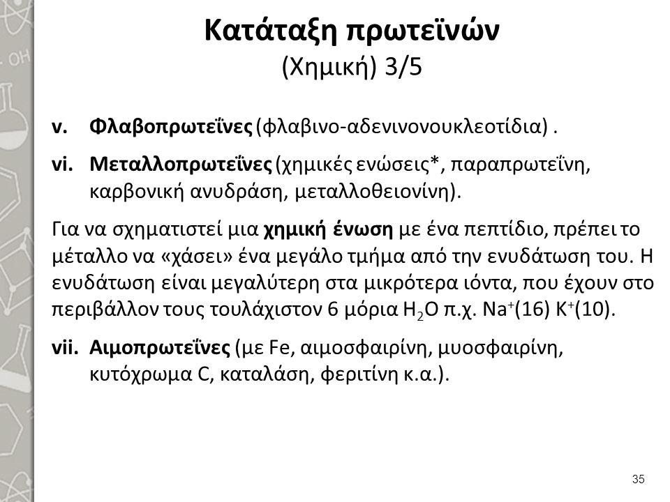 Κατάταξη πρωτεϊνών (Χημική) 3/5 v.Φλαβοπρωτεΐνες (φλαβινο-αδενινονουκλεοτίδια). vi.Μεταλλοπρωτεΐνες (χημικές ενώσεις*, παραπρωτεΐνη, καρβονική ανυδράσ