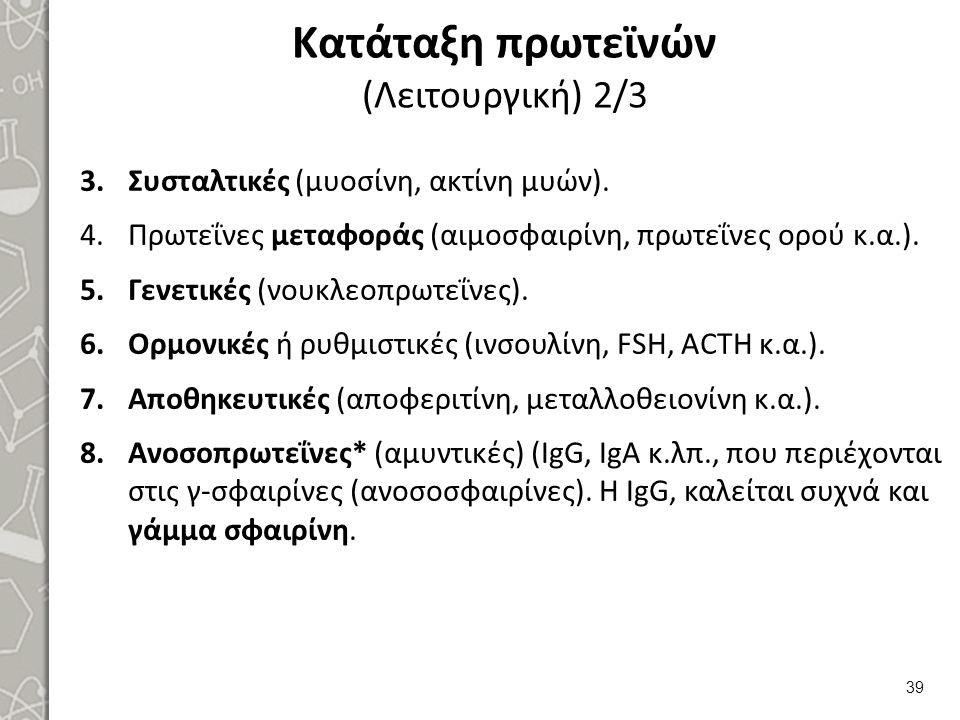 Κατάταξη πρωτεϊνών (Λειτουργική) 2/3 3.Συσταλτικές (μυοσίνη, ακτίνη μυών). 4.Πρωτεΐνες μεταφοράς (αιμοσφαιρίνη, πρωτεΐνες ορού κ.α.). 5.Γενετικές (νου