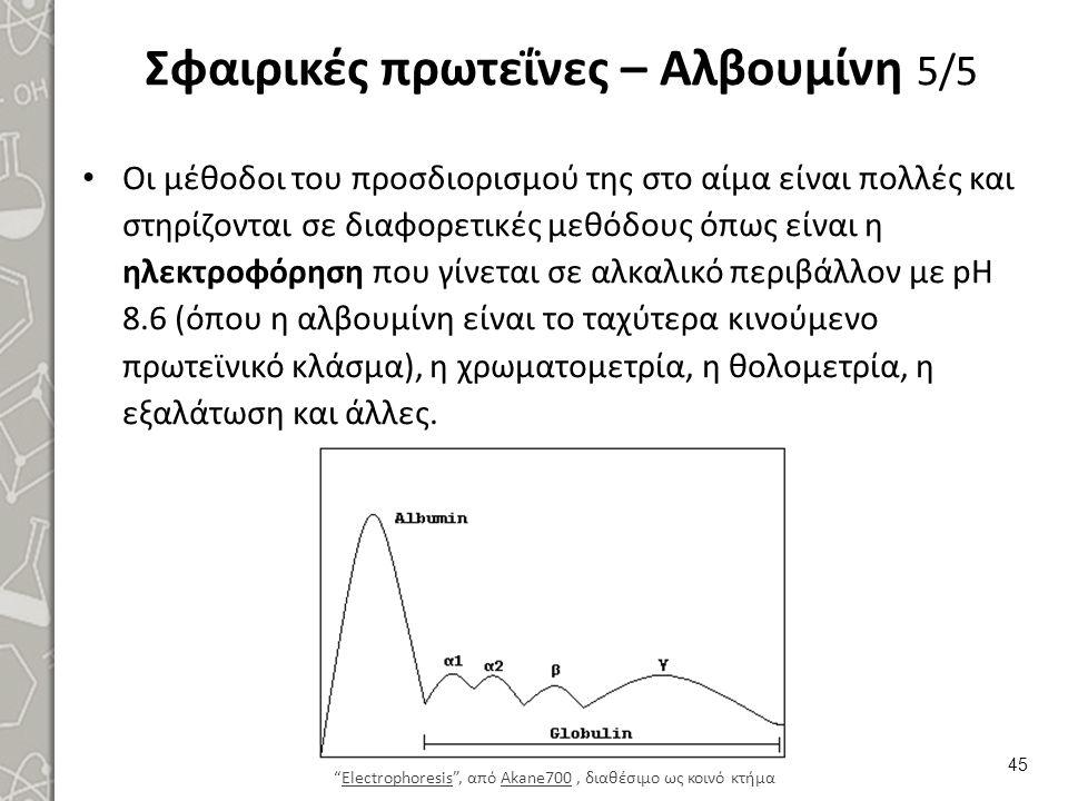 Σφαιρικές πρωτεΐνες – Αλβουμίνη 5/5 Οι μέθοδοι του προσδιορισμού της στο αίμα είναι πολλές και στηρίζονται σε διαφορετικές μεθόδους όπως είναι η ηλεκ