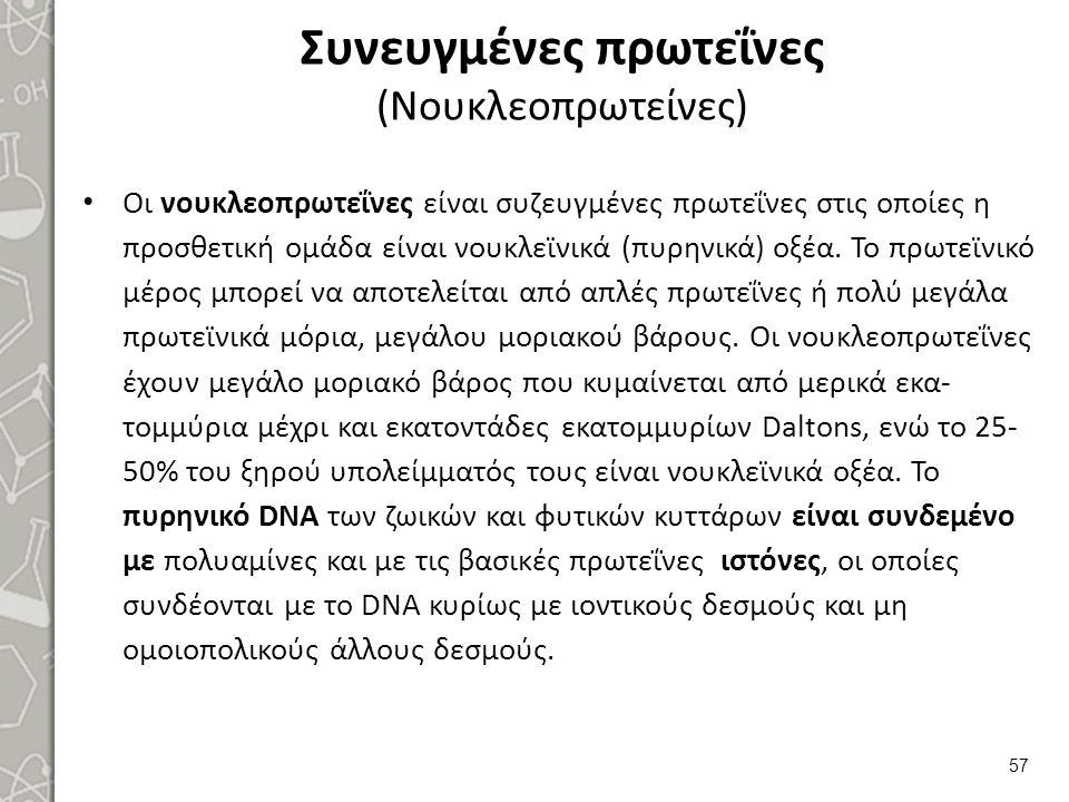 Συνευγμένες πρωτεΐνες (Νουκλεοπρωτείνες) Οι νουκλεοπρωτεΐνες είναι συζευγμένες πρωτεΐνες στις οποίες η προσθετική ομάδα είναι νουκλεϊνικά (πυρηνικά) ο