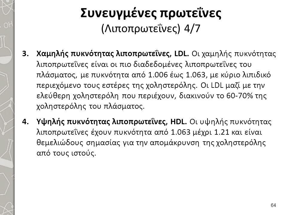 Συνευγμένες πρωτεΐνες (Λιποπρωτεΐνες) 4/7 3.Χαμηλής πυκνότητας λιποπρωτεΐνες, LDL. Οι χαμηλής πυκνότητας λιποπρωτεΐνες είναι οι πιο διαδεδομένες λιποπ