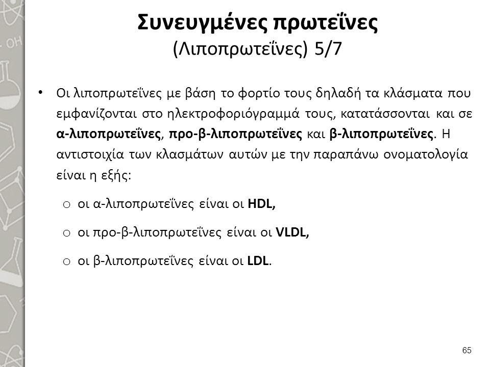 Συνευγμένες πρωτεΐνες (Λιποπρωτεΐνες) 5/7 Οι λιποπρωτεΐνες με βάση το φορτίο τους δηλαδή τα κλάσματα που εμφανίζονται στο ηλεκτροφοριόγραμμά τους, κατ