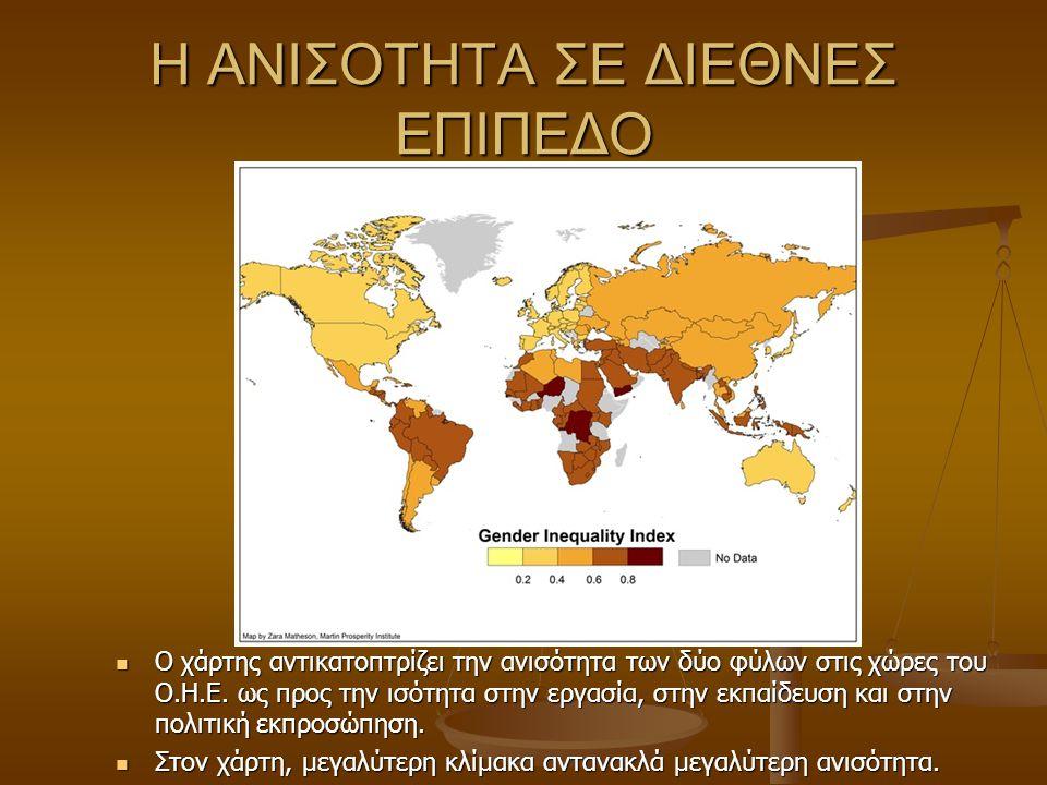 Η ΑΝΙΣΟΤΗΤΑ ΣΕ ΔΙΕΘΝΕΣ ΕΠΙΠΕΔΟ Ο χάρτης αντικατοπτρίζει την ανισότητα των δύο φύλων στις χώρες του Ο.Η.Ε. ως προς την ισότητα στην εργασία, στην εκπαί