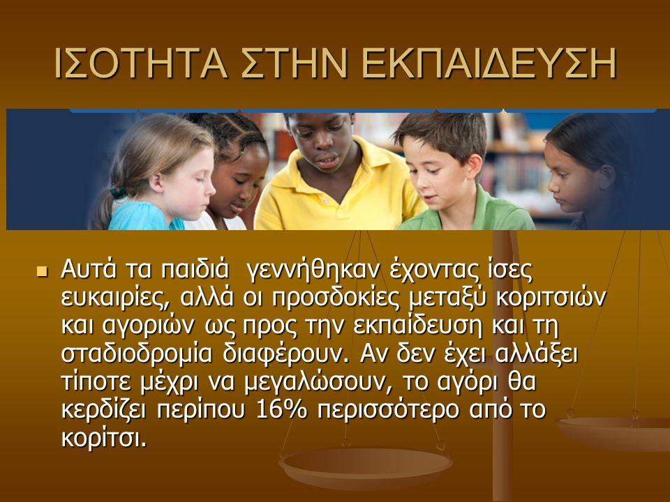 ΙΣΟΤΗΤΑ ΣΤΗΝ ΕΚΠΑΙΔΕΥΣΗ Αυτά τα παιδιά γεννήθηκαν έχοντας ίσες ευκαιρίες, αλλά οι προσδοκίες μεταξύ κοριτσιών και αγοριών ως προς την εκπαίδευση και τη σταδιοδρομία διαφέρουν.