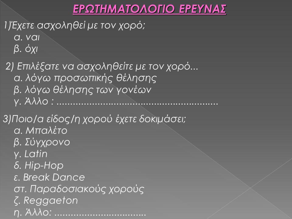 ΕΡΩΤΗΜΑΤΟΛΟΓΙΟ ΕΡΕΥΝΑΣ 1)Έχετε ασχοληθεί με τον χορό; α. ναι β. όχι 2) Επιλέξατε να ασχοληθείτε με τον χορό... α. λόγω προσωπικής θέλησης β. λόγω θέλη