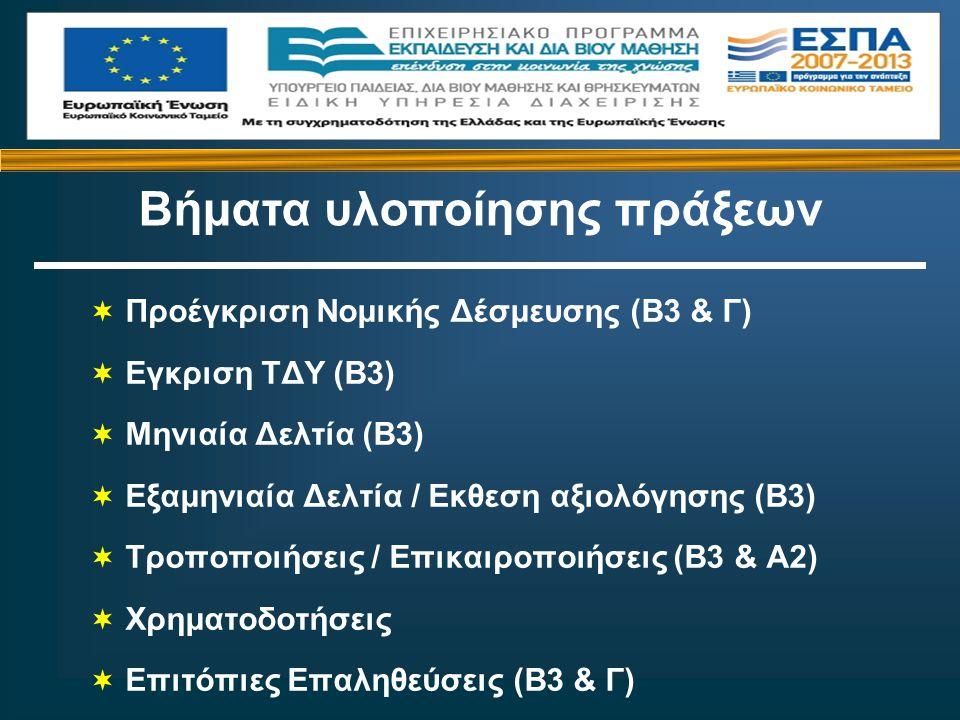  Προέγκριση Νομικής Δέσμευσης (Β3 & Γ)  Εγκριση ΤΔΥ (Β3)  Μηνιαία Δελτία (Β3)  Εξαμηνιαία Δελτία / Εκθεση αξιολόγησης (Β3)  Τροποποιήσεις / Επικαιροποιήσεις (Β3 & Α2)  Χρηματοδοτήσεις  Επιτόπιες Επαληθεύσεις (Β3 & Γ) Βήματα υλοποίησης πράξεων