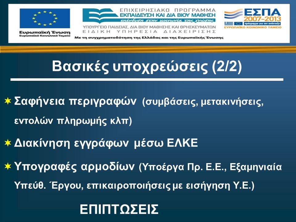  Σαφήνεια περιγραφών (συμβάσεις, μετακινήσεις, εντολών πληρωμής κλπ)  Διακίνηση εγγράφων μέσω ΕΛΚΕ  Υπογραφές αρμοδίων (Υποέργα Πρ.