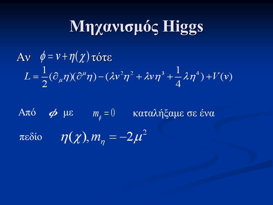 Μηχανισμός Higgs Αν τότε Από με καταλήξαμε σε ένα πεδίο