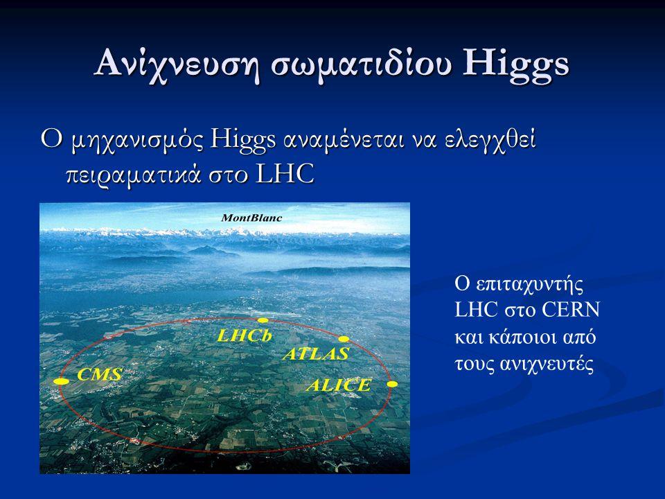 Ανίχνευση σωματιδίου Higgs Ο μηχανισμός Higgs αναμένεται να ελεγχθεί πειραματικά στο LHC Ο επιταχυντής LHC στο CERN και κάποιοι από τους ανιχνευτές