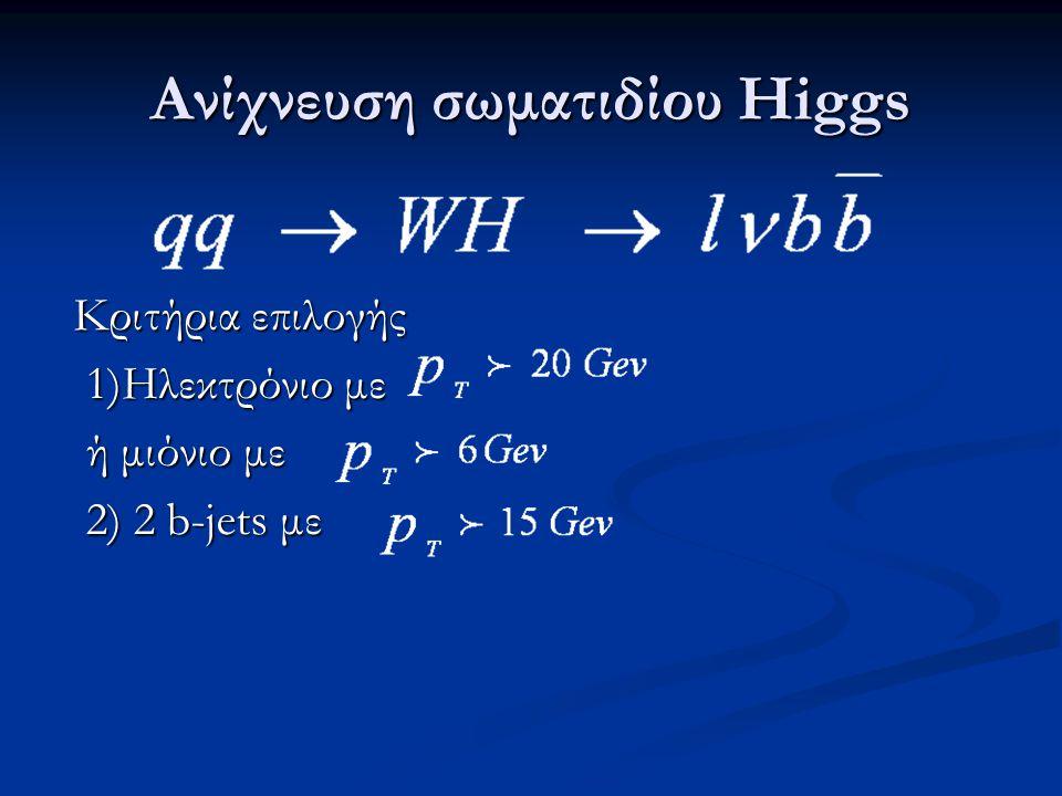 Ανίχνευση σωματιδίου Higgs Κριτήρια επιλογής 1)Ηλεκτρόνιο με 1)Ηλεκτρόνιο με ή μιόνιο με ή μιόνιο με 2) 2 b-jets με 2) 2 b-jets με