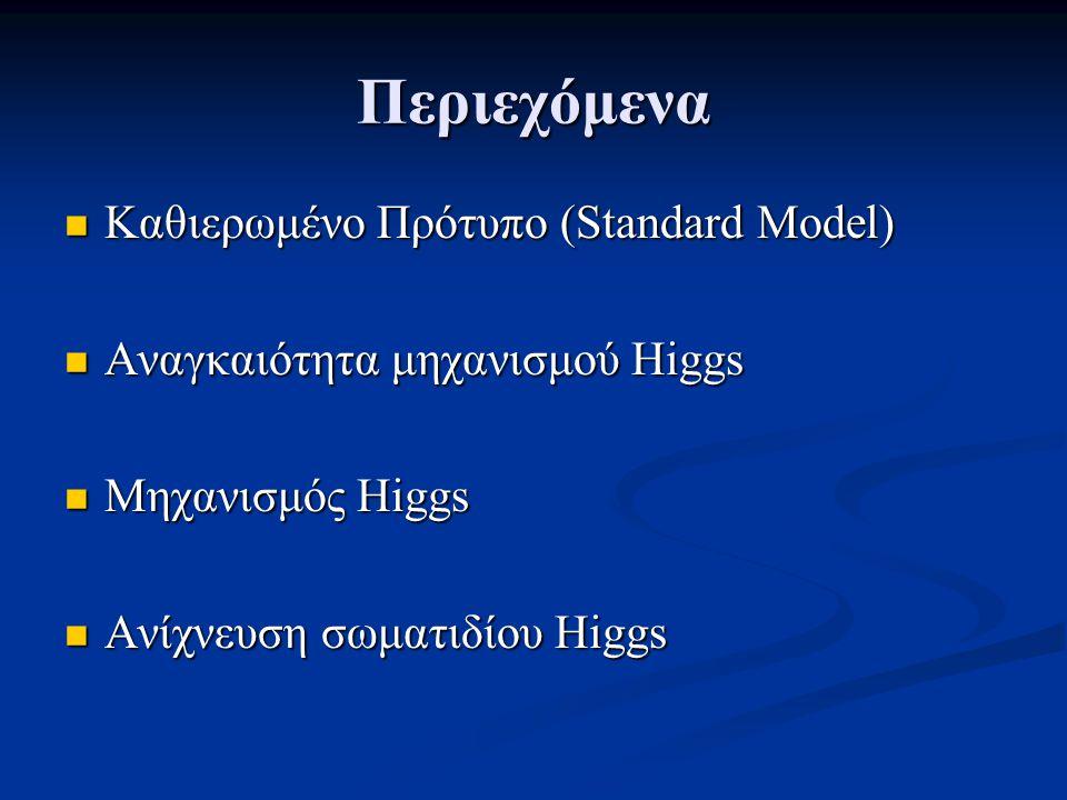 Περιεχόμενα Καθιερωμένο Πρότυπο (Standard Model) Καθιερωμένο Πρότυπο (Standard Model) Αναγκαιότητα μηχανισμού Higgs Αναγκαιότητα μηχανισμού Higgs Μηχανισμός Higgs Μηχανισμός Higgs Ανίχνευση σωματιδίου Higgs Ανίχνευση σωματιδίου Higgs