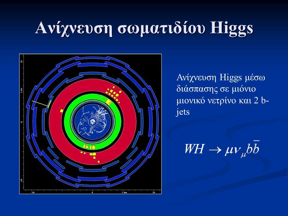 Ανίχνευση σωματιδίου Higgs Ανίχνευση Higgs μέσω διάσπασης σε μιόνιο μιονικό νετρίνο και 2 b- jets